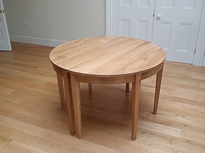 Two joined together to form a circular table seating 6